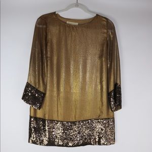 Michael Kors Gold Sequin Tunic Size Womens Size S